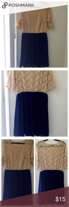 """Cream Lace and Royal Blue Chiffon Dress Up for sale is a nice, easy, breezy, & float dress. Worn 1x to a PM party no stains, no rips, has been dry cleaned. No belt included! Hits right at the knees for ref: I am 5""""3 ❌NO TRADES OR PP❌ Dresses Midi"""