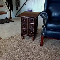Sewing machine drawers made into sweet end-table .