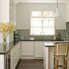 gray tile backsplash, soapstone counters