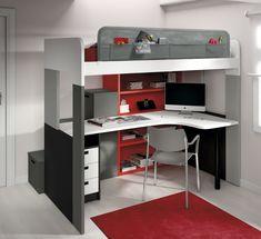 youth bedroom, exprimiendo el espacio, cama elevada con mesa estudio y cajones contenedores formando la escalera www.moblestatat.com horta guinardó, barcelona