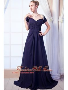 Navy Blue Empire Sweetheart Prom Dress Chiffon Beading Brush Train  http://www.fashionos.com