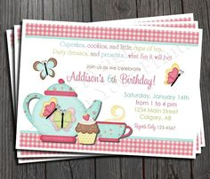 free printable tea party invites | Tea Party Birthday Invitation FREE Thank You by ForeverYourPrints