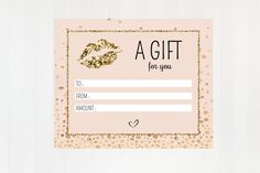 EDITABLE LipSense Gift Certificate - LipSense - SeneGence Gift Certificate - LipSense Distributor - Blank Gift Certificate by UnmeasuredBranding on Etsy Blank Gift Certificate, Certificate Design, Certificate Templates, Gift Certificates, Going Away Gifts, Company Gifts, Blush And Gold, Corporate Gifts, Special Gifts