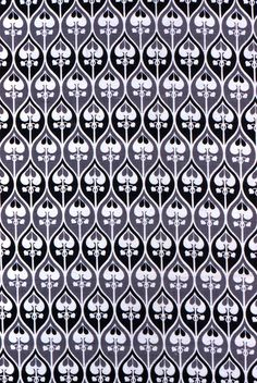 "Textile, ca. 1910 | Collection of Smithsonian Cooper-Hewitt, National Design Museum, 1952-105-43. In light and dark grey, and white, small-scale all-over pattern of dove-tailing ogives containing palmette.    This textile is medium: cotton technique: printed by engraved roller on plain weave. Its dimensions are: H x W: 27-3/16""x30-5/16"". From United Kingdom."