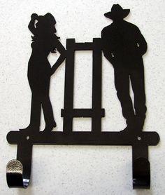 Cowboy Cowgirl Double Towel Hook Hanger Rustic Western Metal Art Lodge Decor | eBay