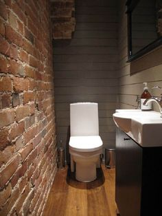 Toilet in villa 1908 Tiny House Bathroom, Bathroom Design Small, Bathroom Interior Design, Bathroom Styling, Small Toilet Room, Wc Decoration, Brick Interior, Bad Styling, Powder Room Design