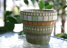 Burnt Orange and Olive Green Mosaic planter in by HalleyDawn