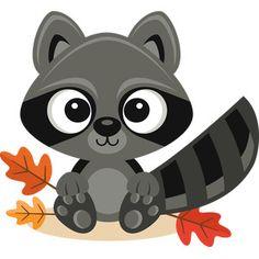 Fall Raccoon SVG scrapbook cut file cute clipart files for silhouette cricut pazzles free svgs free svg cuts cute cut files List Of Animals, Baby Animals, Cute Animals, Animal List, Woodland Creatures, Woodland Animals, Animal Cutouts, Fall Clip Art, Cute Clipart