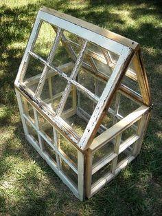 mini greenhouse from old windows @Katie Hrubec Schmeltzer VandenBerg - for all your old Eli's windows