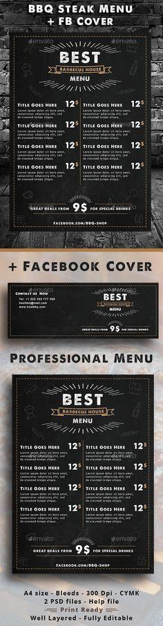 BBQ Steak Menu Template PSD. Download here: http://graphicriver.net/item/bbq-steak-menu/16428927?ref=ksioks