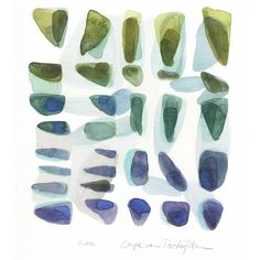 Artwork original watercolor painting home decor - Beach Finds - Rocks... ($90) ❤ liked on Polyvore