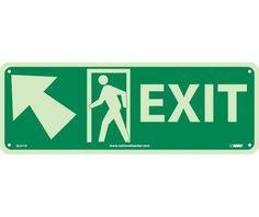 EXIT (W/ DOOR AND LEFT UP ARROW), 5X14, PS Glow
