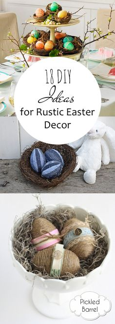 Rustic Easter Decor, How to Decorate For Easter, Easter Decor Tips and Tricks, Easter Decor, Rustic Easter, Rustic Holiday Decor, Rustic Spring Decor, Popular Pin.