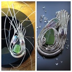 Another progress shot from a custom Peridot StillnessWraps pendant. This one started with a weave of 6 base wires to set the amethyst. Hope this helps a bit! Follow me on facebook or subscribe to my email list at www.stillnesswraps.wordpress.com for more fully detailed tutorials and tips coming soon!