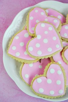 Pink polka dot heart sugar cookies