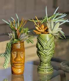 Kahiki and Tiki Farm mugs with succulents. Cool, very cool. :)