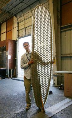 Made On Earth — Cardboard Shredder Wooden Surfboard, Surfboard Art, Wooden Kayak, Wooden Paddle, Kayak Boats, Canoe And Kayak, Metal Bending, 3d Laser, Water Toys