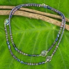 Artisan Crafted Necklace with Iolite Kyanite Labradorite - Lanna Mysteries | NOVICA Gemstone Jewelry, Jewelry Box, Jewelry Making, Jewellery, Necklace Sizes, Beaded Necklace, Necklaces, Jewelry Packaging, Necklace Designs