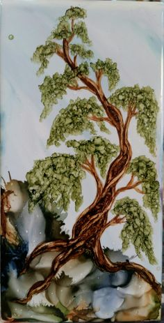 Tree in alcohol ink on 4x8 ceramic tile by Tina