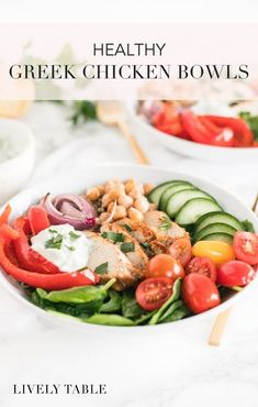 These healthy Greek chicken bowls are flavorful and filling grain bowls topped with greek chicken, roasted veggies, chickpeas and tzatziki sauce, all conveniently cooked on a sheet pan! This delicious recipe is great for weeknight dinners or meal prep! (gluten-free, nut-free) Yummy Vegetable Recipes, Healthy Gluten Free Recipes, Whole Food Recipes, Dinner Recipes, Healthy Soups, Healthy Lunches, Healthy Dishes, Dinner Ideas, Chicken Recipes