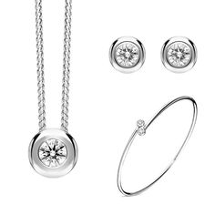 18ct White Gold Diamond Three Piece Gift Set, BLC-217 At C W Sellors, we have an expert team of diamond specialists who handpick and grade each jewel to meet our high standards and a team oftalented in house designers who combine their talents tobring you our exclusive Diamond collection. Chosen for their rare white quality, eachdiamond we use has a minimum clarity of VS and minimum colour of G-H. This beautiful gift set comprises: Pendant: Diamond Round Brilliant 0.23cts, sold complete… Jewelry Gifts, Jewellery, Christmas Gift Sets, High Standards, Rose Gold Jewelry, Jewelry Packaging, White Gold Diamonds, Natural Gemstones, Clarity