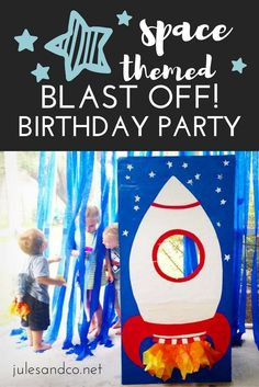 Space Themed Blast Off Birthday Party Ready to blast off for an awesome boy's birthday party? Check out our take on a space themed birthday party. Make a spaceship photo booth, plastic bottle rocket backpacks, astronaut play ideas, and more! Third Birthday, 4th Birthday Parties, Birthday Blast, Boy Birthday Themes, Birthday Diy, 5th Birthday Ideas For Boys, Nasa Party, Festa Hot Wheels, Outer Space Party