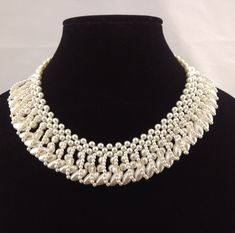Vintage Faux Pearl Collar Necklace Rhinestone Box Clasp Stamped Japan #Unbranded #Collar