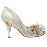 Perfect wedding day shoes, these ivory and metallic fabric combined with white leather and an elegant floral embellishment on the front from Irregular Choice. Get yours now online at Begg Shoes. www.beggshoes.com #bridalshoes #weddingshoes