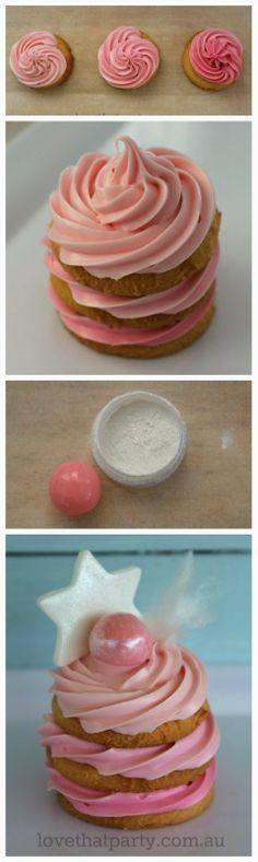 """How to make """"No Bake"""" mini layer cakes with ombre frosting. Easy kids party food blog series at Love That Party"""