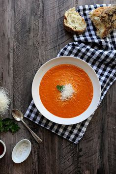 Creamy Roasted Red Pepper Soup // I mean, we just picked up a box of this from TJs, but how. much. better. could it be homemade? Thanks, @joythebaker