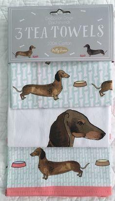 c6024bbe53370 Milly Green  dachshund Wiener Dog Kitchen Tea Towels Set of 3 Cotton NEW