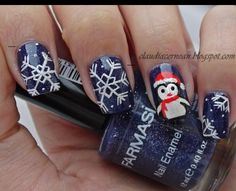 Cute penguin nail art for xmas