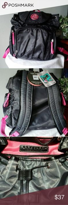 "🏋️‍♂️🏐 GREAT BACKPACK 🏐🏋️‍♂️ NWT Black with hot pink backpack. Has lots of room 3 outside pockets, Inside has a zipper pocket 3 slide pockets and a padded pocket for small computer or electronic device. Also has an attached bag for shoes or gym clothes after use.  It is very lightweight. With drawstring and flap. Measurements are 14""X6""X16"". RARE EARTH Bags Backpacks"