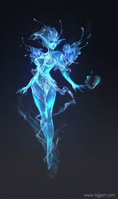 Gorgeously translucent blue fey-lady. Not sure if she's made of water or what. Yes, she's mostly naked, but the translucent ears and shoulder frills are just too lovely to pass by.