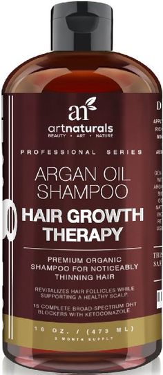 Art Naturals Organic Argan Oil Hair Loss Shampoo for Hair Regrowth 16 Oz - Sulfate Free - Best Treatment for Hair Loss, Thinning & Aging - Product For Men & Women - Infused with Biotin -3 Month Supply