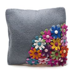 handmade felt grey flower design cushion by felt so good | notonthehighstreet.com