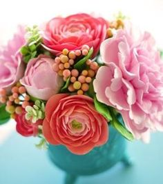 Aqua and coral centerpiece. by hester