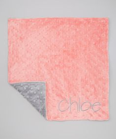 Take a look at this Silver & Coral Minky Personalized Security Blanket by Lolly Gags on #zulily today!