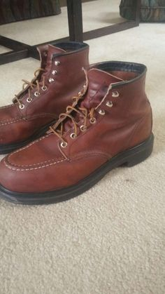 9bc337da02 RED WING 4439 Brown Leather Steel Moc Toe Work Boots Men SZ 10 D MADE IN USA