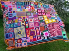 Psychedelic Patchwork Crochet Blanket Picnic Bedspread Wall Hanging by natalia