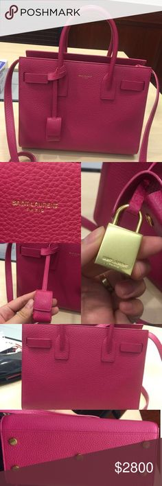 "NEAR NEW Saint Laurent Classic Baby Sac De Jour 100% authentic and near new. In Fuchsia grained leather. Measures 8.2""H x 5.1""L x 10.1""D. Serious buyers only! Best offers welcome but no low balls please. Please direct any questions to buy.fashionablez@gmail.com Yves Saint Laurent Bags Satchels"