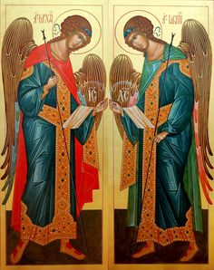Archangels Michael and Gabriel Religious Images, Religious Icons, Religious Art, Michael Gabriel, San Gabriel, Archangel Gabriel, Archangel Michael, Saints And Sinners, Russian Icons