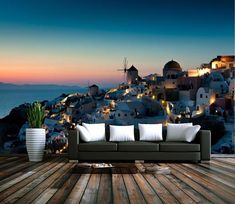 Outdoor Sofa, Outdoor Furniture, Outdoor Decor, Custom Wall Murals, Mural Wall, Wall Wallpaper, Santorini, Wall Prints, Sun Lounger
