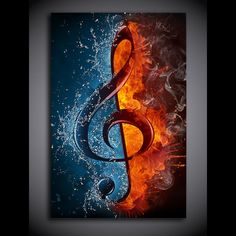 Sharp print for the musician. 1 Panel Music Musical Note Ice and Fire Wall Art Canvas Print Framed UNframed Hang in studio, man cave, office, shop... We have 2 options for this print-- With Framed, Or No Framed. Please choose one option when you buy. With Framed means the print has been stretched on wood frame, ready to hang! No Framed means canvas ONLY. The canvas will be rolled up and shipped in a tube. You or someone local will need to install the canvas on stretcher bars in order to hang your wall art like in the picture. Please note, this home decor panel wall art picture is a print and not a painting. Use the sizes listed below for reference. Pictures shown are images supplied by the manufacturer and are renderings, not actual pictures of the print. Images do not depict actual size of print. size1: 30cmx50cm (12inchx20inch) size2: 40cmx60cm (16inchx24inch) size3: 60cmx90cm (24inchx36inch) XA1731CASH Musik Wallpaper, Galaxy Wallpaper, Wallpaper Desktop, Music Drawings, Music Artwork, Musik Illustration, Canvas Art Prints, Canvas Wall Art, Music Pictures