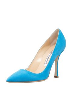 BB Suede Pointed-Toe Pump, Turquoise by MANOLO BLAHNIK at Bergdorf Goodman.