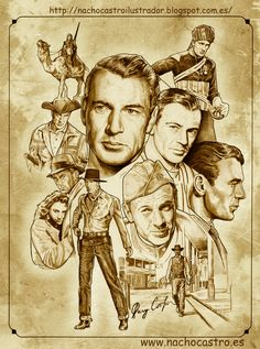 "Gary Cooper ,illustration from the book ""Hombres de Hollywood"".Nacho Castro.Diábolo ediciones"