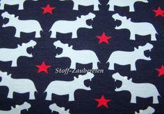 Baumwolljersey Jersey Janeas World Hippo Niels Sterne Nilpferd Stars blau rot