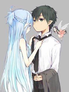 Asuna y kirito sword art online .seamos sinceros extrañaremos el pelo cafe de asuna XD. .