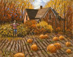 Autumn Painting - Autum Trees - Pumpkin Patch - Scarecrow 11 x 14 - One Sale Now. $195.00, via Etsy.