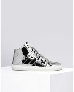 f568f940a59c81 Men s Metallic High-Top Faux-Leather Sneakers